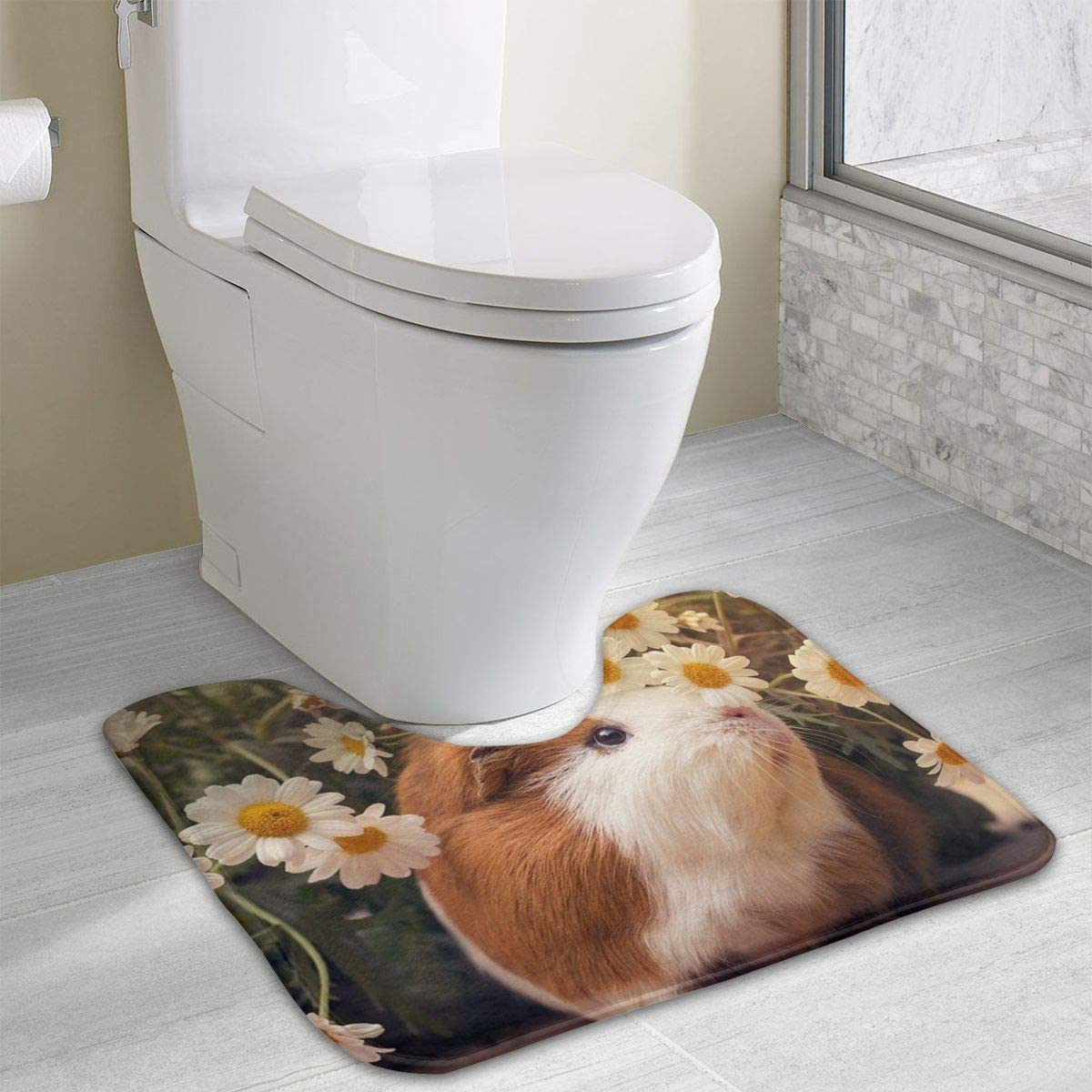 NiYoung Guinea Pigs Flowers Print Contour Mat Non Skid Memory Foam Toilet Bath Rug Carpet Quick Dry Mat Bath Mat, Multi-Purpose Home Decor for Bathroom, Hotel, Bedroom, Toilet