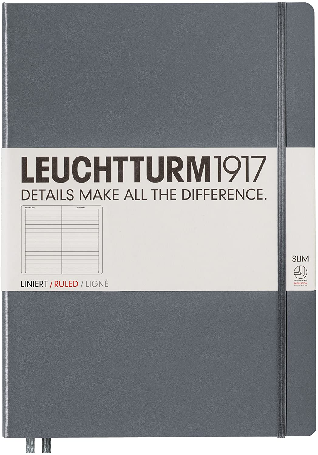 Leuchtturm1917 Master Slim Hardcover Ruled Notebook- 121 Numbered Pages, Anthracite
