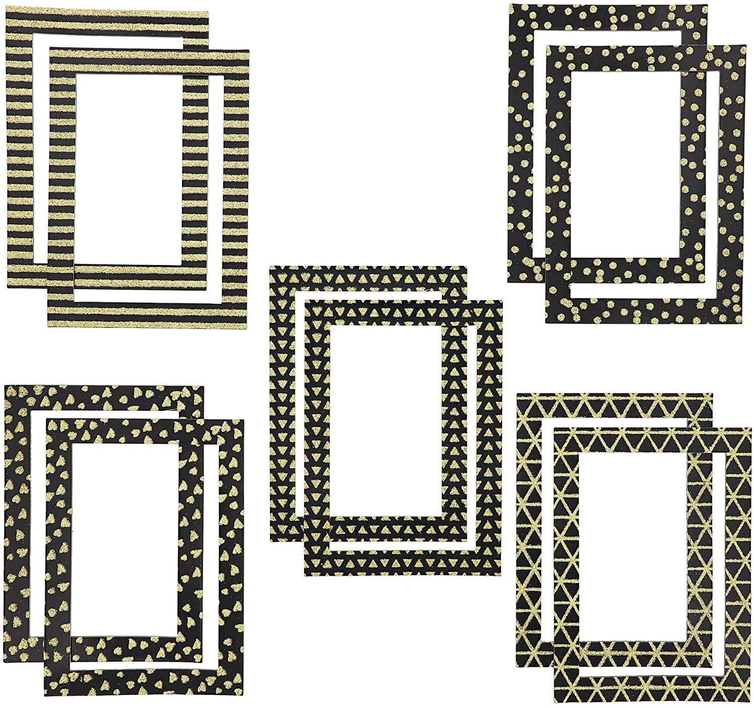 Paper Junkie Magnetic Picture Frame, Black with Gold Glitter (4 x 6 in, 10 Pack)