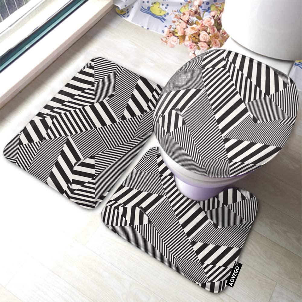 AOYEGO Black White Stripes Bath Mat Set Geometric Lines Grid Squares Bathroom Mat 3 Pieces Rug Toilet Seat Lid Cover Non Slip Mat Anti-Skid Pad