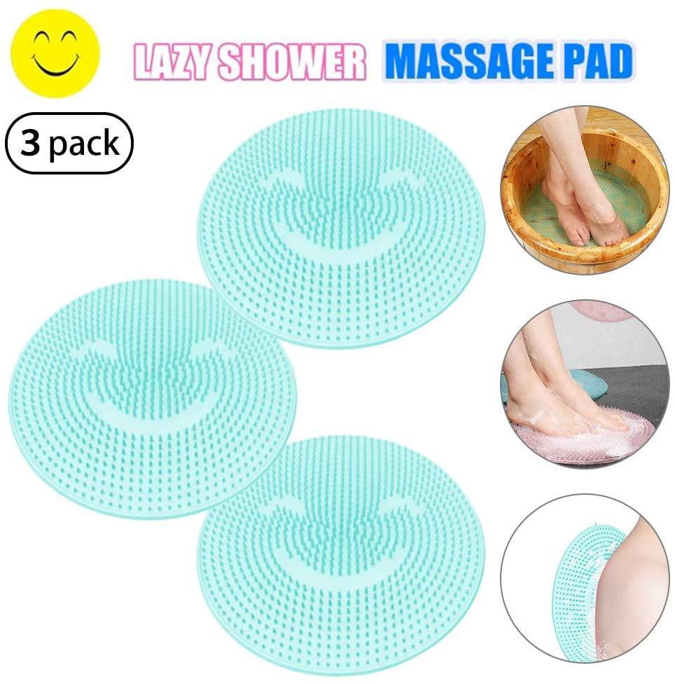 Yoruii Silicone Lazy Foot Acupressure Brush Pad Bath Massage Wash Feet Bathroom Mat Pad Clean Dead Skin Artifact Non Slip Shower Foot Cleaner Scrubber for Shower, SPA, Massage 3Blue