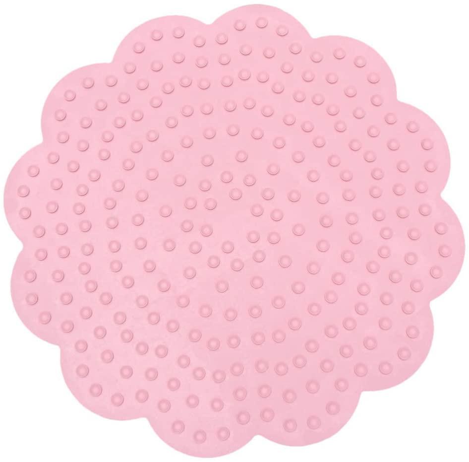 Milisten 1PC Flower Shape Rubber Bath Mat Anti Slip Safety Rug Cushion for Bathroom Kitchen (Pink)