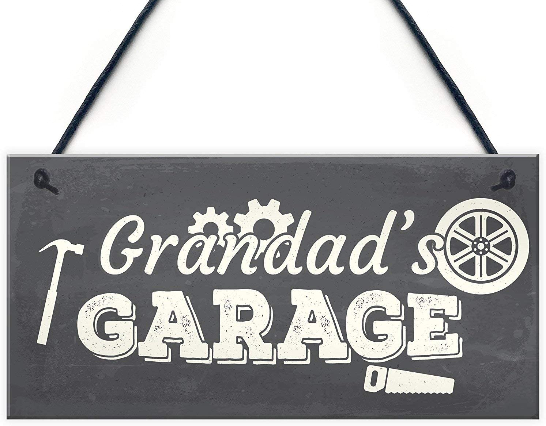 Meijiafei Grandad's Garage Hanging Wall Plaque Novelty Workshop Man Cave Shed Sign Father Gift 10