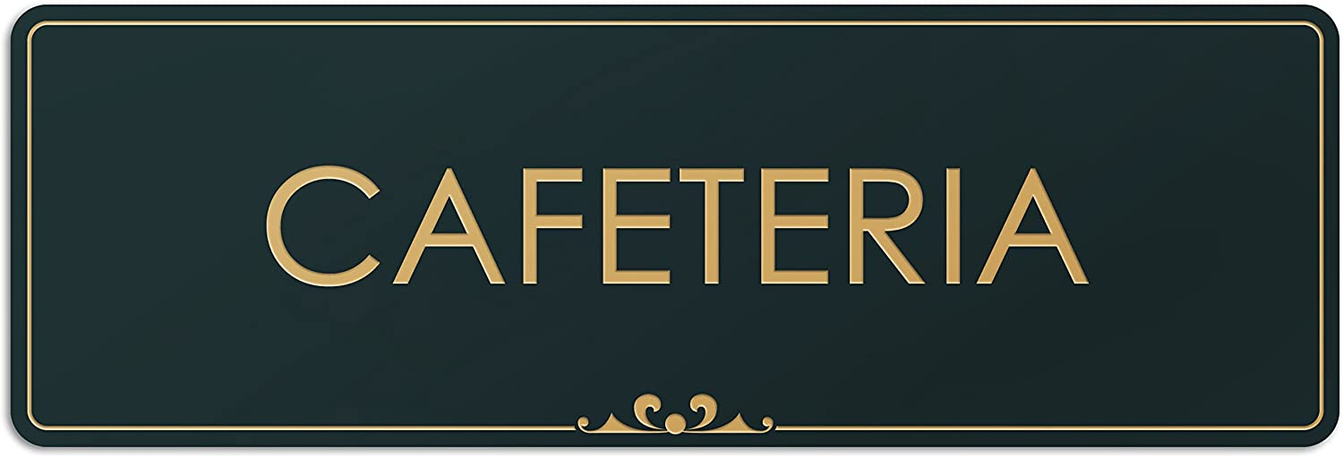 Cafeteria - Laser Engraved Sign - 3x9 - .050 Black and Gold Plastic