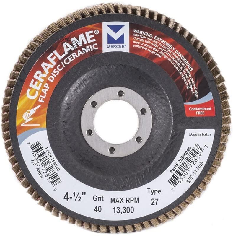 Mercer Industries 269040 Ceraflame Ceramic Flap Discs, Type 27, 4-1/2