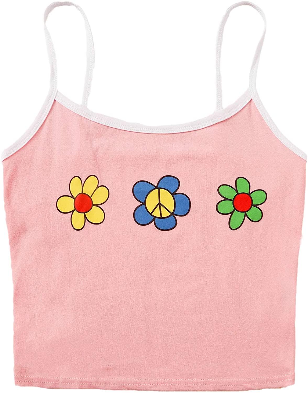 SheIn Women's Cute Summer Floral Print Contrast Casual Spaghetti Strap Crop Cami Top