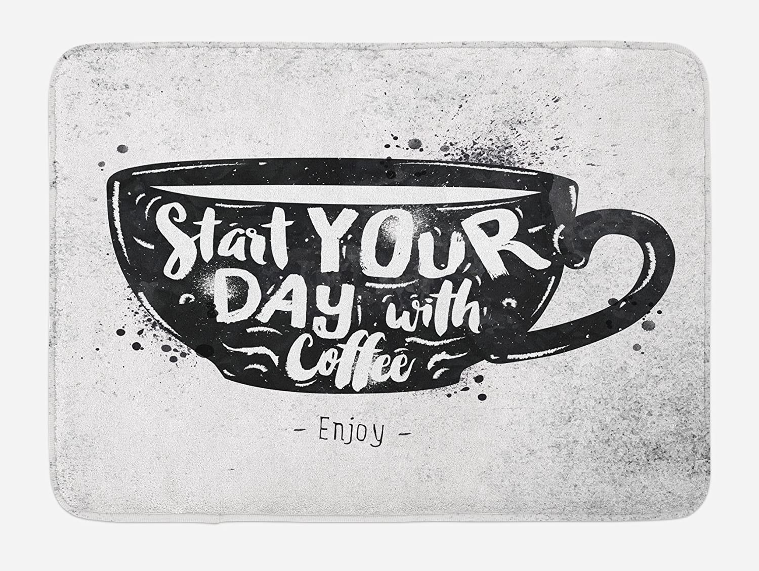 Lunarable Coffee Bath Mat, Mug with Lettering Start Your Day with Coffee Creative Style Monochromic Print, Plush Bathroom Decor Mat with Non Slip Backing, 29.5 X 17.5, Black White