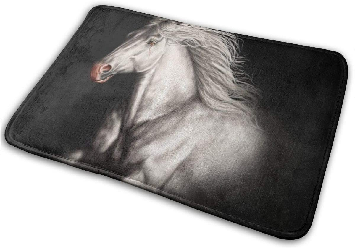 Super Cozy Throw Rug Area Rugs with Anti-Slip Backing Easy Clean (16 Inches X 24 Inches) Use for Bathroom Shower Kitchen Porch - White Running Wild Horse Black
