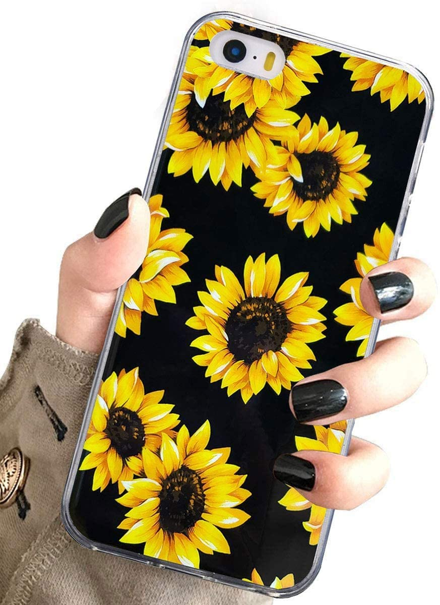 J.west iPhone 5S Case, i5 Case,iPhone SE Case, Vintage Floral Cute Yellow Sunflowers Black Soft Cover for Girls/Women TPU Silicone Slim Design Pattern Protective Case for iPhone 5 5S SE Sunflower