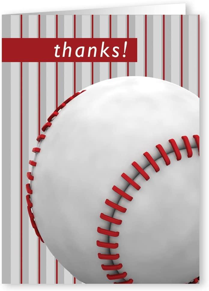 Baseball Thank You Note Card- 18 Boxed Baseball Cards & Envelopes