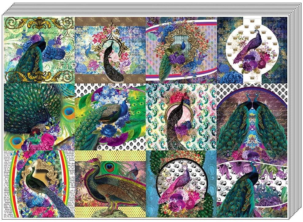 Creanoso Peacock Stickers (10-Sheet) – Total 120 pcs (10 X 12pcs) Individual Small Size 2.1 x 2. Inches, Unique Designs DIY Decoration Art Decal for Children