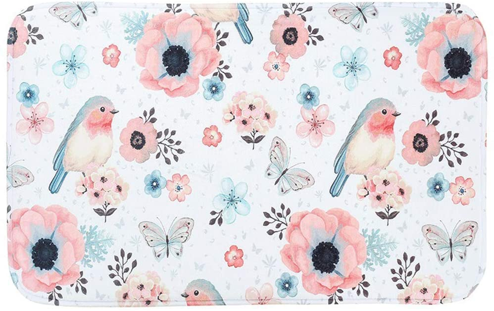 HomDSim Fashion Printing Bath Mat, Pattern with Flower and Bird Bathroom Carpet, Soft Non-Slip Bath Rugs Kitchen Carpet Doormat Home Decoration Accessories - 29.5