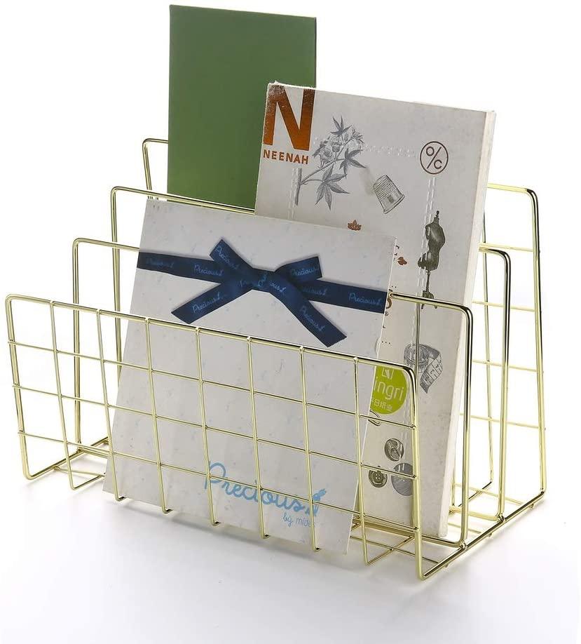 Yagote Desktop File Organizer 3 Slot File Holder Desktop Book Shelf Letter Sorter File Organizer Magazine Rack for Home Office Decoration (Gold)