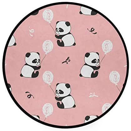 Cute Pandas Bear Soft Spa Polyester Round Bath Mat or Rug Place in Front of Shower, Vanity, Bath Tub, Sink, and Toilet, 36
