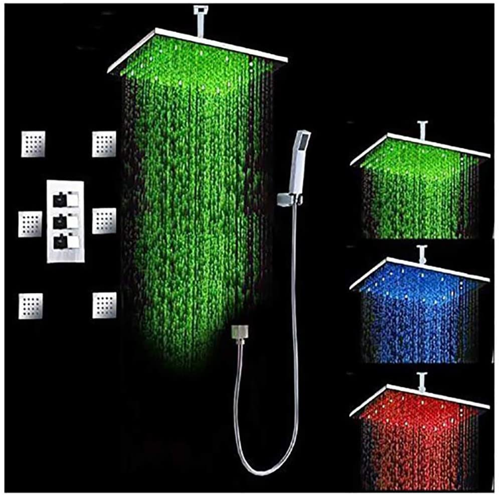 Cascada Luxury Bathroom Shower Set with Luxury Water Power LED Shower Head (Ceiling Mount) Rainfall Thermostatic 6 Massage Jets Spray Body Shower Set (16