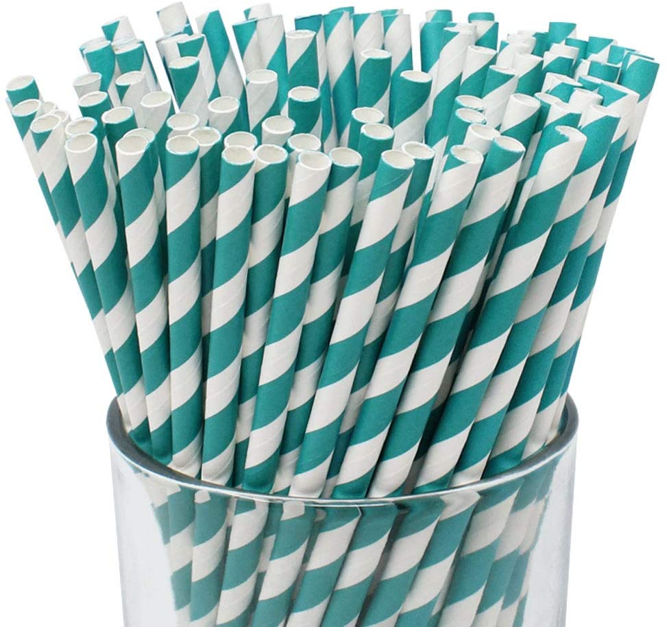 Just Artifacts 100pcs Premium Biodegradable Striped Paper Straws (Striped, Teal)