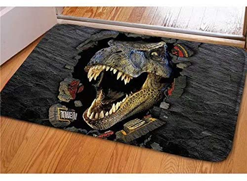 Dellukee Indoor Outdoor Doormats Cute Dinosaur Printed Non Slip Durable Washable Funny Home Decorative Door Mats Bath Rugs for Entrance Bedroom Bathroom Kitchen, 23 x 16 Inches