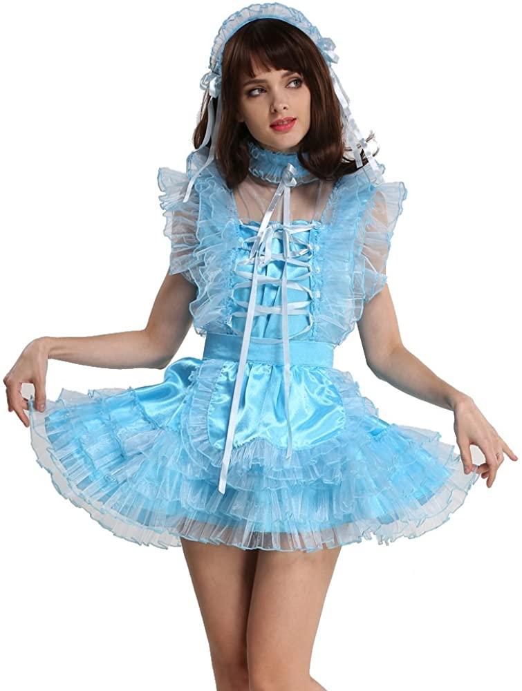 GOceBaby Lockable Sissy Maid Satin Organza Light Blue Puffy Dress