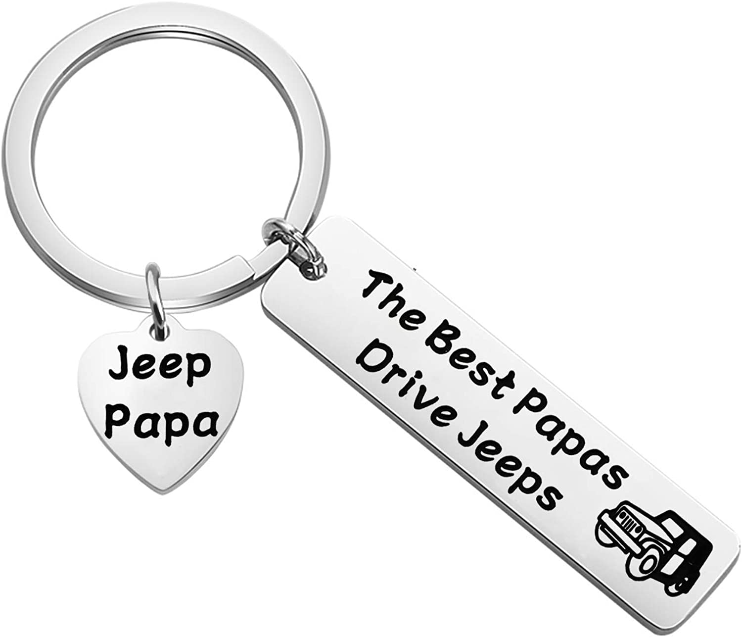 MAOFAED Jeep Gift Jeep Papa Gift Jeep Lover Gift Jeep Owner Gift The Best Papas Drive Jeeps Jeep Keychain for Grandpa