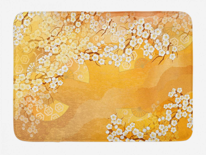 Ambesonne Asian Bath Mat, Japanese Cherry Blossom Sakura Tree Branches Blooms Artwork, Plush Bathroom Decor Mat with Non Slip Backing, 29.5