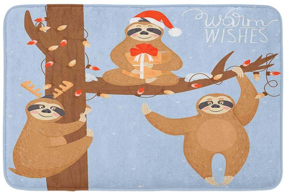 Adowyee Bath Mat Christmas Happy Year Sloth Lazy Hanging The Animal Bear Cartoon Cute Design Funny Cozy Bathroom Decor Bath Rug with Non Slip Backing 20