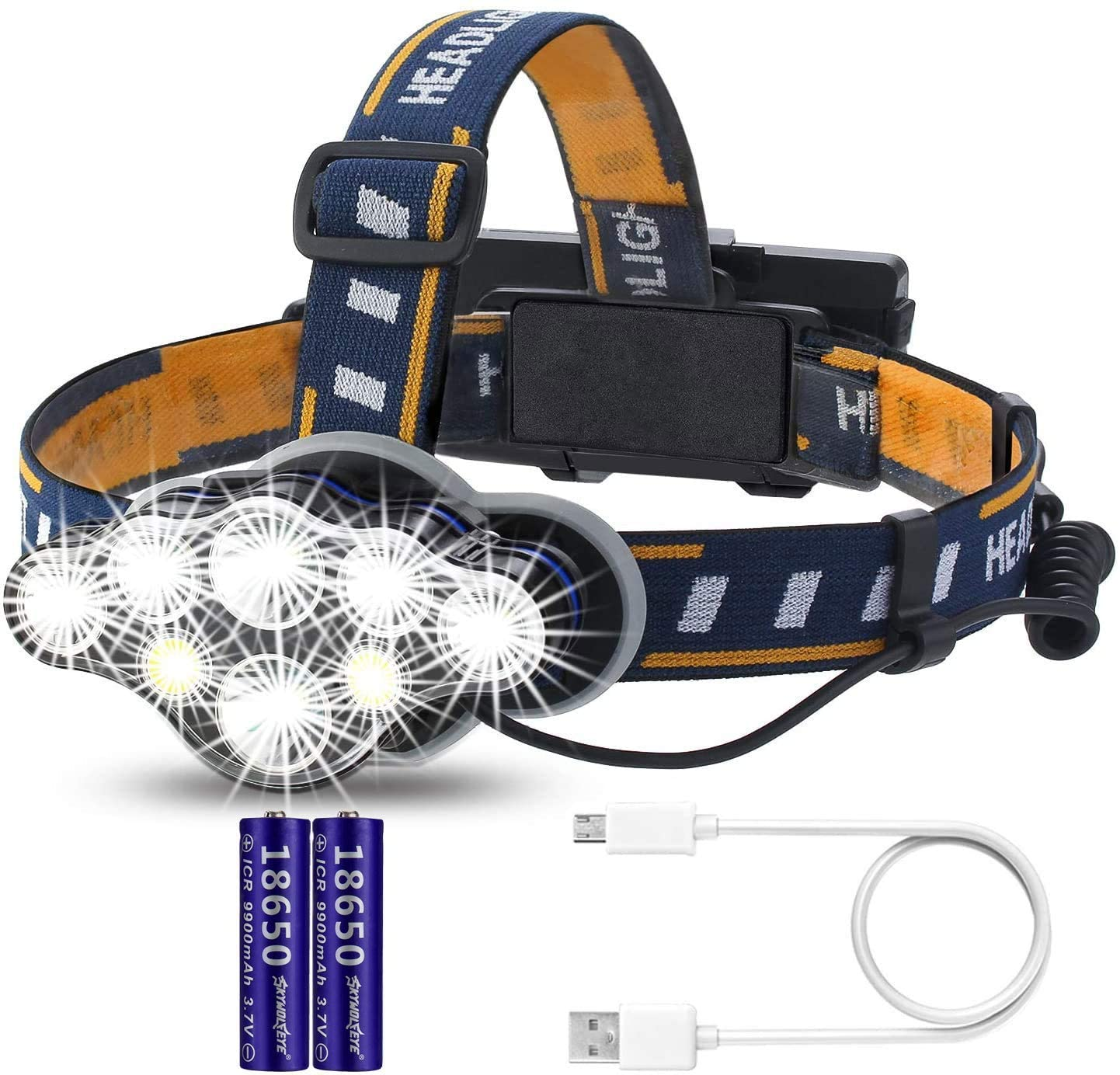 USB Rechargeable Headlamp, 8 LED Waterproof Headlights, 8 Modes of Headlights, with 2 PCS 9900 mAh Rechargeable batteries,Suitable For Outdoor Camping, Cycling, Running, Fishing