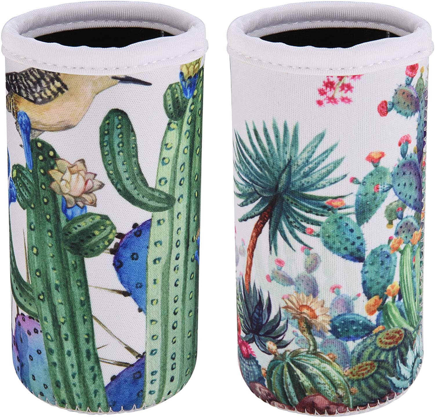 CM Soft Neoprene Slim Can Sleeves Insulators Slim Can Covers for 12 Fluid Ounce Energy Drink & Beer Cans (Cactus Pattern (2 Pcs))