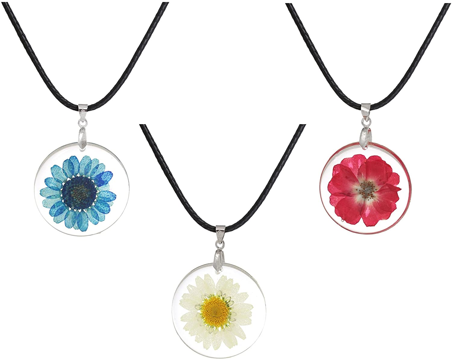 JGFinds Dried Flower Necklace 3 Pack, Resin and Cowhide - Actual Flower