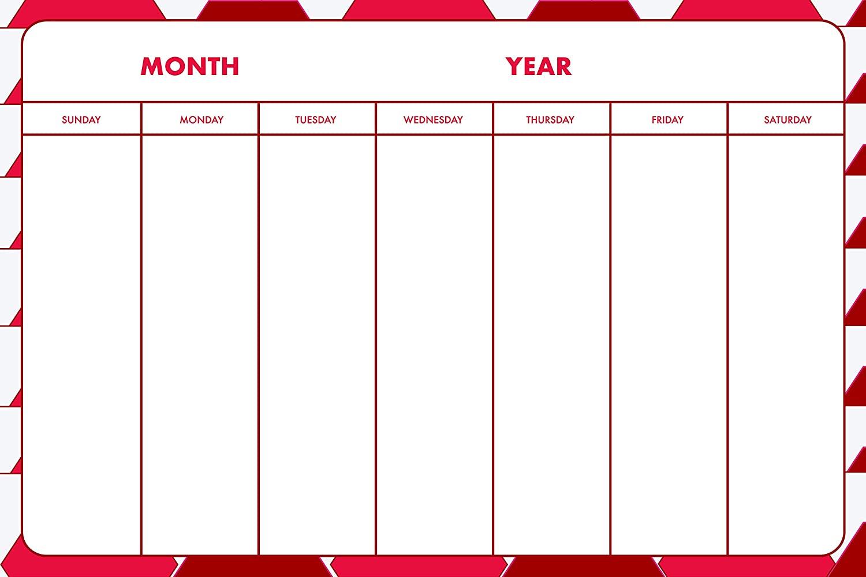 Wall Calendar Decal Weekly Dry Erase Design Hexagon (red, 15 W x 23 L)