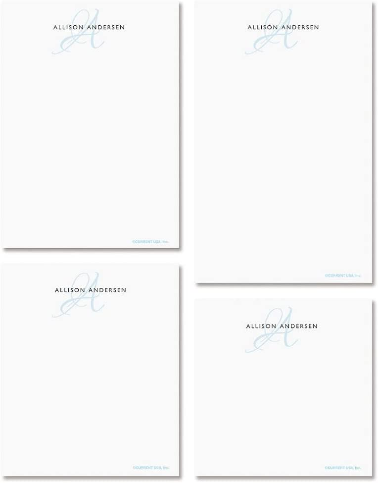 Initial Personalized Notepad Set – Set of 4 100-Sheet Pads, Multiple Sizes, Great for Shopping Lists, Grocery Lists and Personalized Gifts, Printed in the USA, by Current