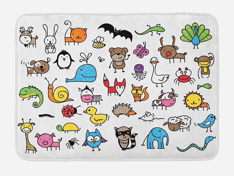 Ambesonne Nursery Bath Mat, Arrangement Cartoon Style Animals Drawn in Child Friendly Manner Fun, Plush Bathroom Decor Mat with Non Slip Backing, 29.5
