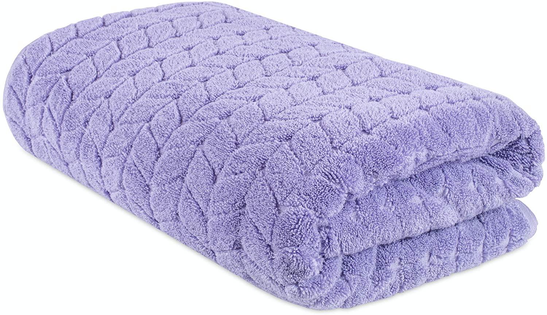 Bagno Milano Jacquard Woven%100 Turkish Cotton Quick Dry Towels, Non-GMO Turkish Cotton Plush Luxury Towels, Thick and Soft Durable Spa Towel Set, Lavender Bath Sheet 1 Piece
