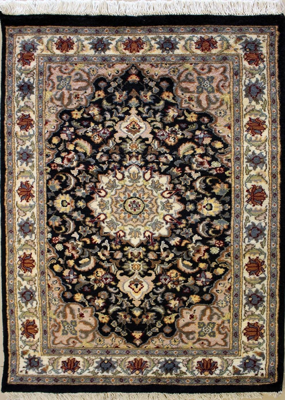RugsTC 2'5 x 3'11 Pak Persian Area Rug with Wool Pile - Floral Design   100% Original Hand-Knotted in Black,White,Grey Colors   a 2.5x4 Rectangular Double Knot Rug