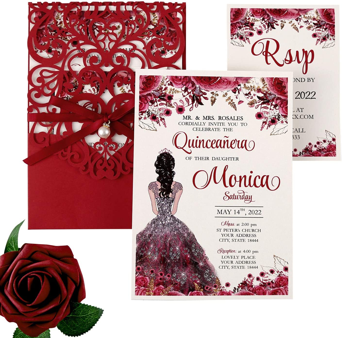 DreamBuilt 4.7X7 Inch 50PCS Blank Laser Cut Red Wedding Invitations With Rsvp Cards And Envelopes And Ribbon Belly Band Pearl Embellishments Wedding Invitation Cards For Wedding Invite
