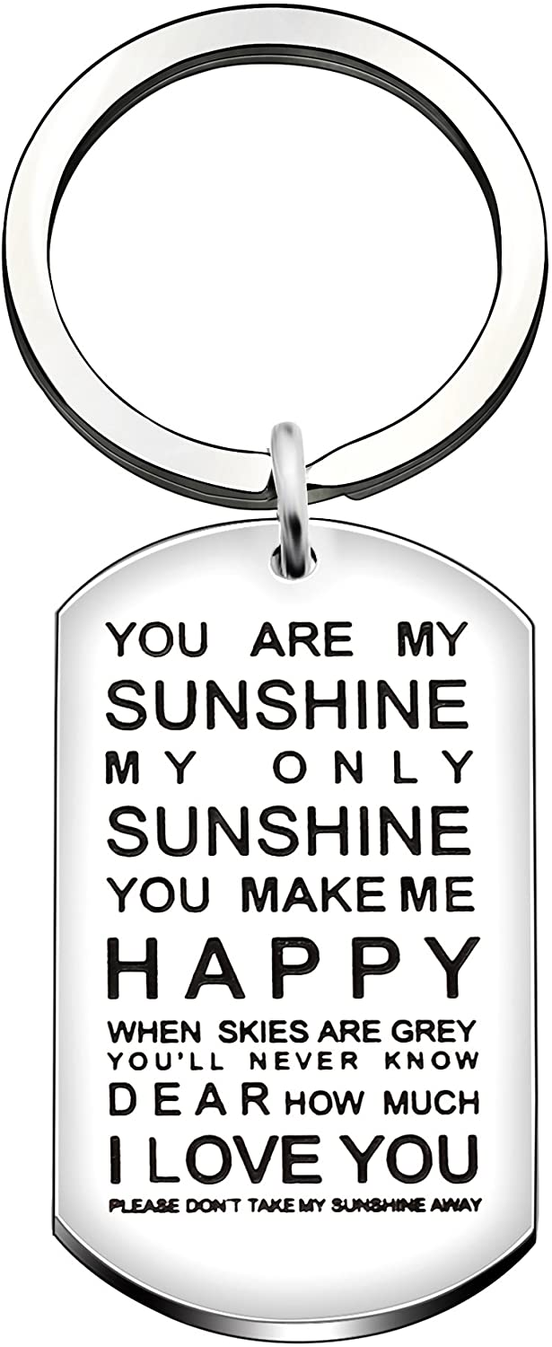 Key Ring Valentine Birthday Family Girlfriend Boyfriend Gifts - You are My Sunshine My Only Sunshine