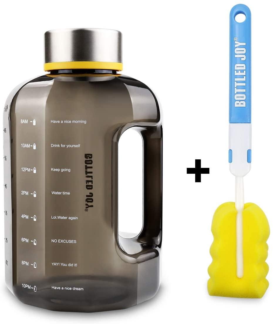 BOTTLED JOY Large Water bottle Portable Half Gallon Water Bottle Jug 2.2 L / 75 OZ Motivational Fitness Big Sports Water Bottle with Time Marker Tracker for Measuring Daily Water Intake