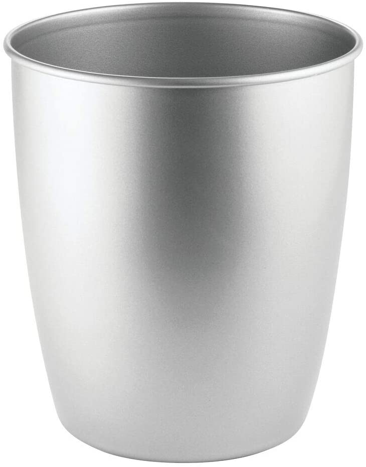 mDesign Round Metal Small Trash Can Wastebasket, Garbage Container Bin for Bathrooms, Powder Rooms, Kitchens, Home Offices - Steel - Chrome