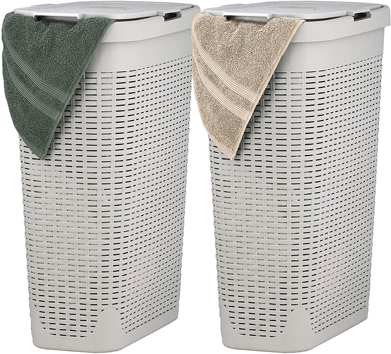 Superio Slim Laundry Hamper Beige 40 Liter (2 Pack) Durable Plastic Hamper Basket with Lid, Durable Washing Bin 1.15 Bushel, Narrow and Tall Basket Bathroom Storage Dirty Cloths Easy Use (Ivory)