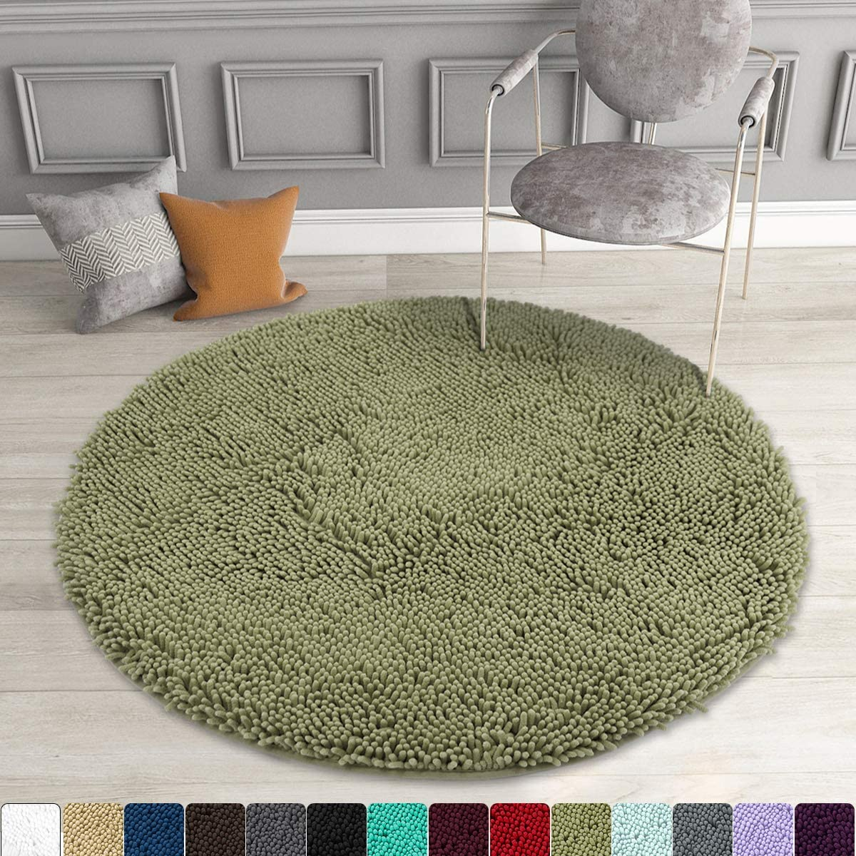 MAYSHINE Round Bath Mat Non-Slip Chenille 3 Feet Shaggy Bathroom Rugs Extra Soft and Absorbent Perfect Plush Carpet for Living Room Bedroom, Machine Wash/Dry-Sage Green