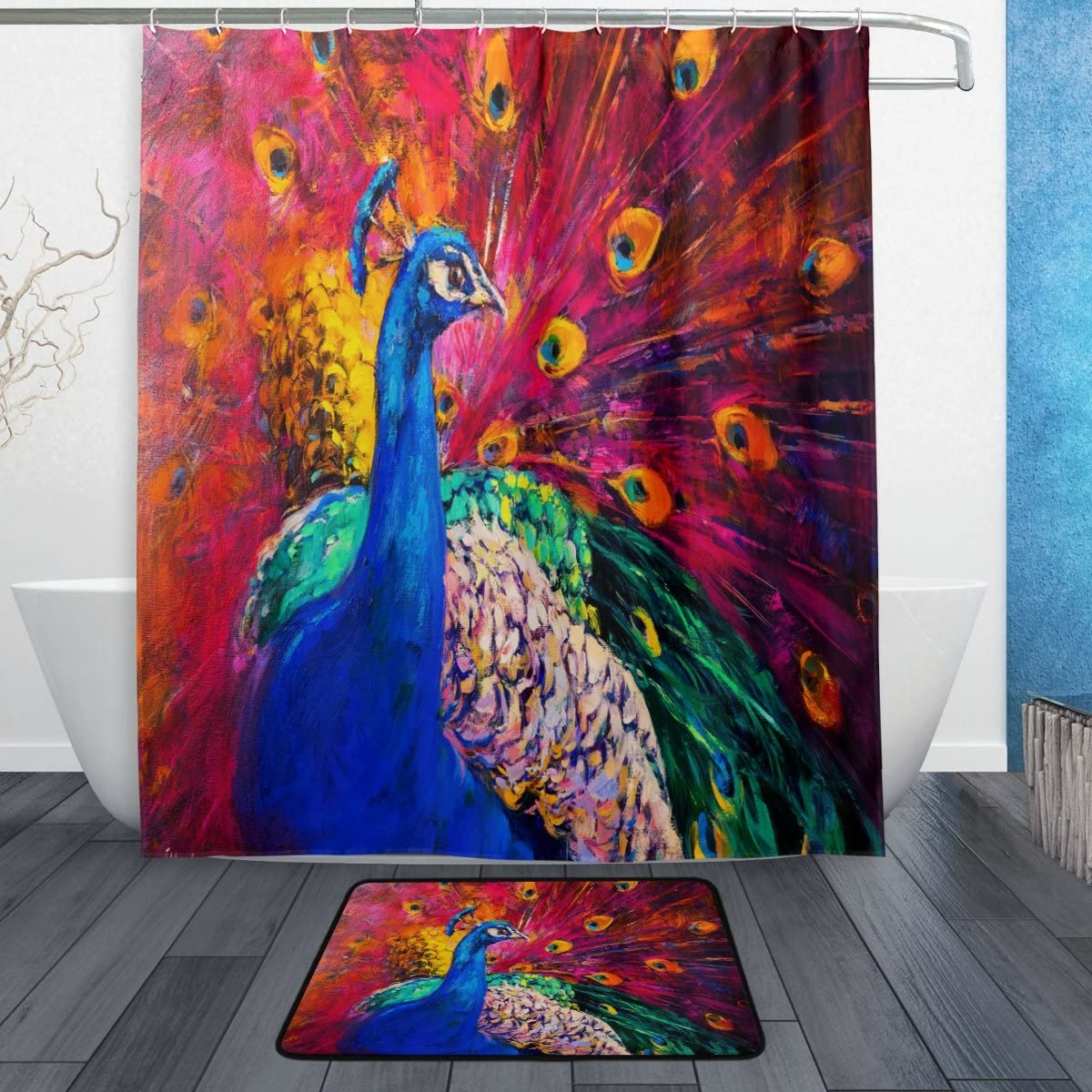 Naanle Oil Painting Multicolored Peacock Waterproof Polyester Fabric Shower Curtain (60