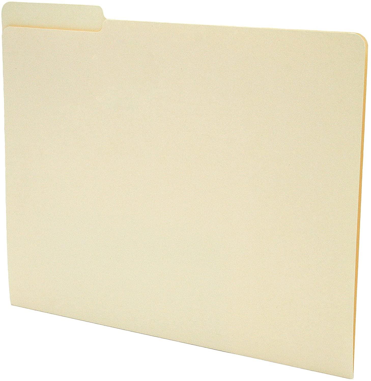 TAB Manila Folder with Single Ply Top Tab – Letter, 1/3 Cut Left Tab Position, 11 pt, 100/box