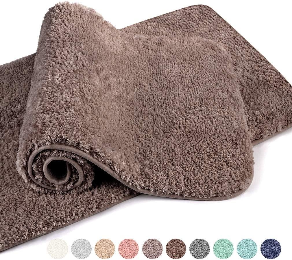 VANZAVANZU Bathroom Rugs 20x32 (2 Pack) Ultra Soft Absorbent Non Slip Fluffy Thick Microfiber Cozy Bath Mat for Tub Shower Bathroom Floors Accessories (Taupe)