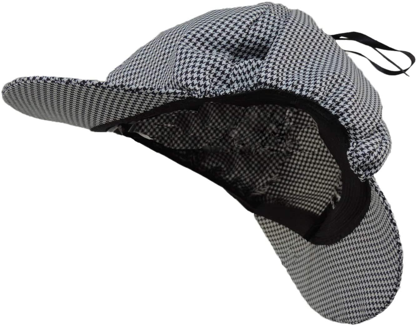 Sherlock Holmes Houndstooth Detective Deerstalker Costume Hat Black & White