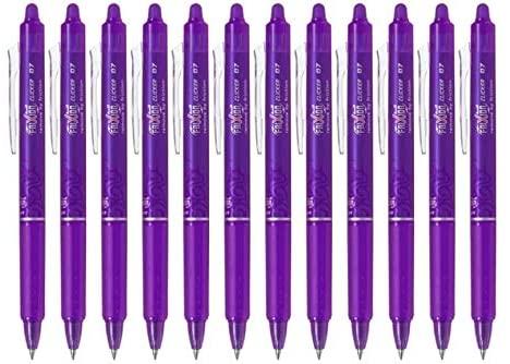 Pilot FriXion Ball Clicker Retractable Erasable Gel Pen, Fine Point, 0.7mm, Purple Ink, 12 Count