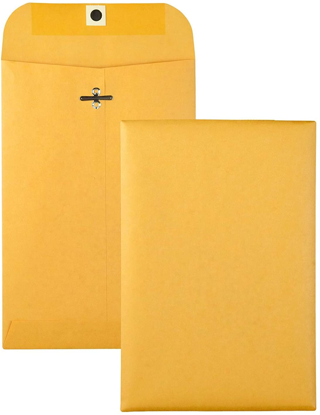 Brown Kraft Catalog Clasp Envelopes with Clasp Closure & Gummed Seal, 28lb Heavyweight Paper Envelopes, Great for Filing, Storing Or Mailing Documents, 25 Envelopes (6.5 x 9.5 inches)