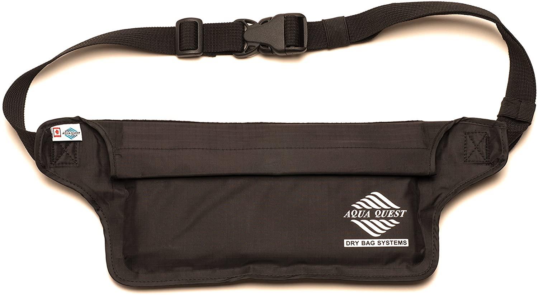 Aqua Quest AquaRoo Money Belt - The World's Original 100% Waterproof Waist Pack Travel Pouch, Since 1994 - Comfortable, Adjustable, Lightweight - Black, Blue, Grey or Camo