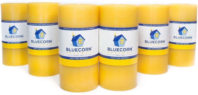 Bluecorn Beeswax 100% Pure Raw Wax Pillars: Case (6) 3