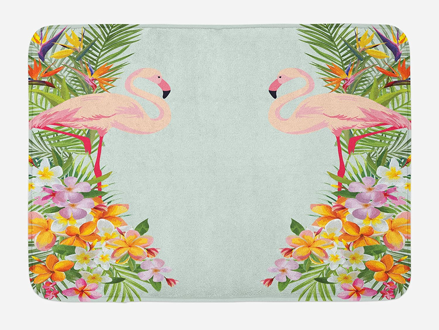 Ambesonne Floral Bath Mat, Flamingo Birds and Tropical Flowers Exotic Hawaiian Wildlife Animals Print, Plush Bathroom Decor Mat with Non Slip Backing, 29.5 X 17.5, Blue Orange