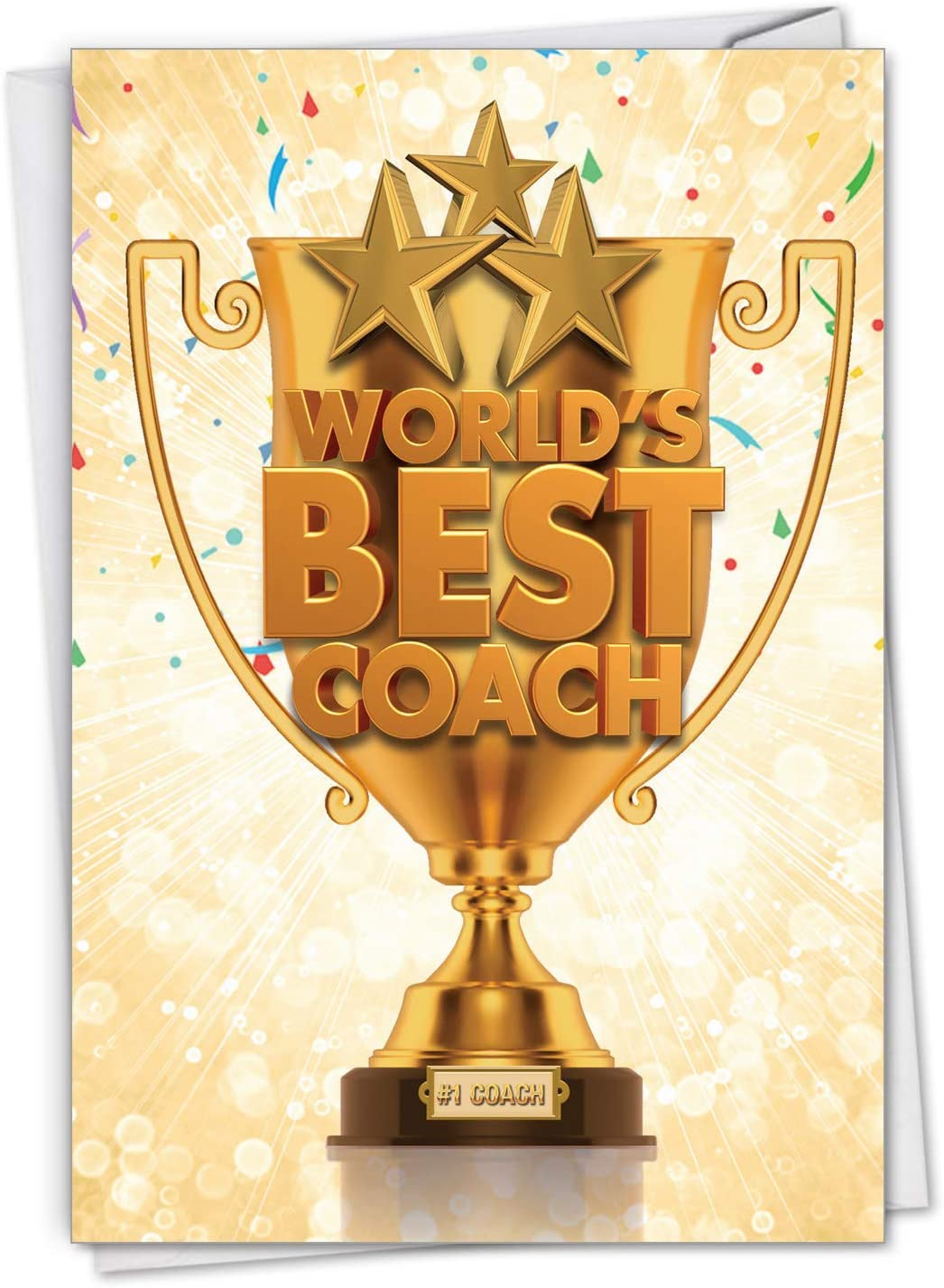 NobleWorks, World's Best Coach - Thank You Greeting Card for Coaches - Sports, Team Gratitude C3117TYG