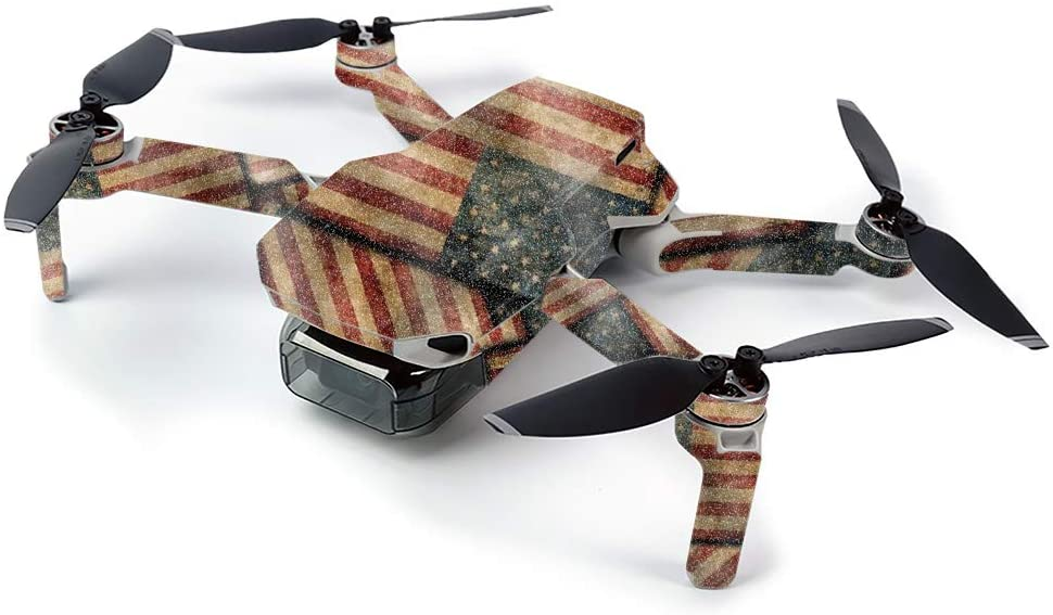 MightySkins Glossy Glitter Skin for DJI Mavic Mini Portable Drone Quadcopter - Vintage American   Protective, Durable High-Gloss Glitter Finish   Easy to Apply, Remove   Made in The USA